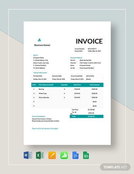 Vehicle Invoice Template