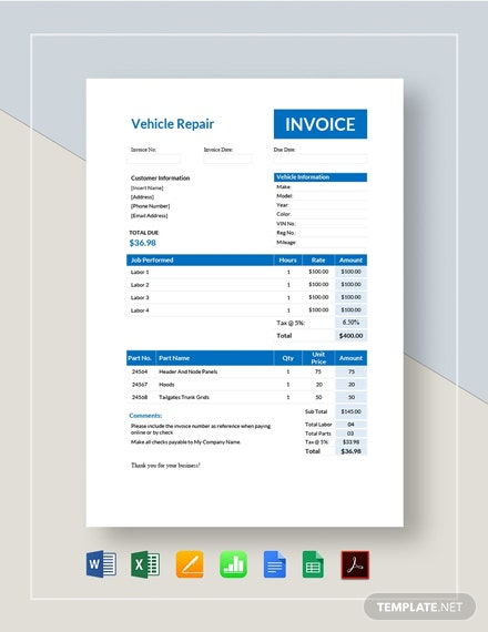 Vehicle Repair Invoice Template