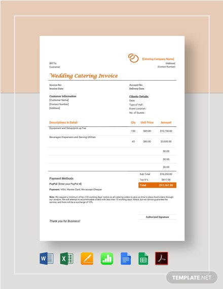Wedding Catering Invoice Template