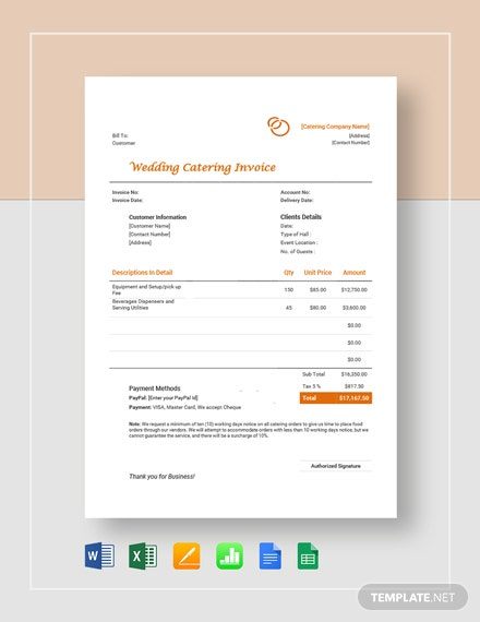 wedding catering invoice