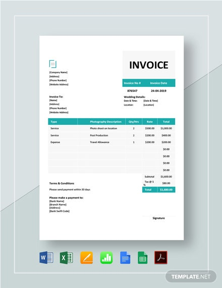 Wedding Photography Invoice Template