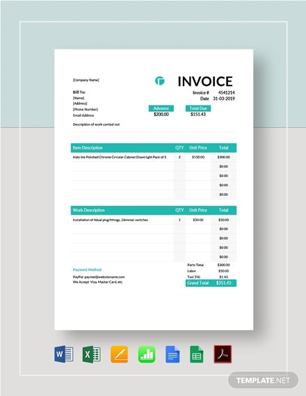 Electrical Contractor Invoice