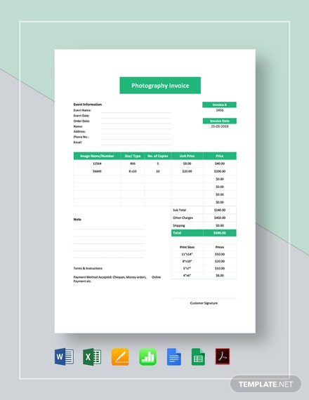 Event Photography Invoice Template