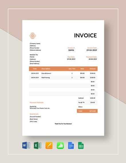 exterior design invoice