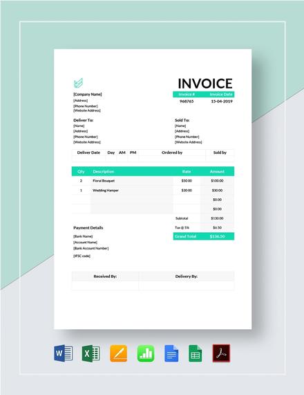 Flower Shop Invoice Template