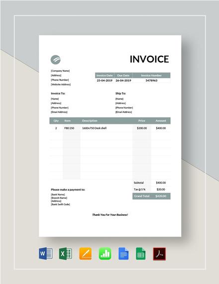 Furniture Invoice Template