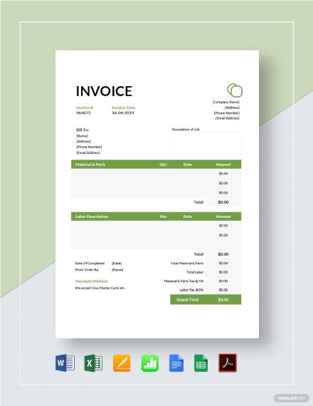 Garage Invoice Template