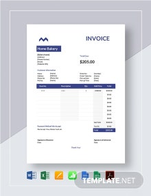 Home Bakery Invoice Template