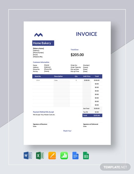 home bakery invoice