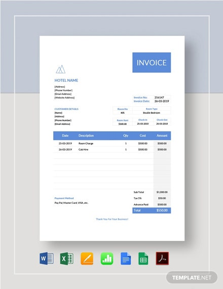Hotel Stay Invoice Template