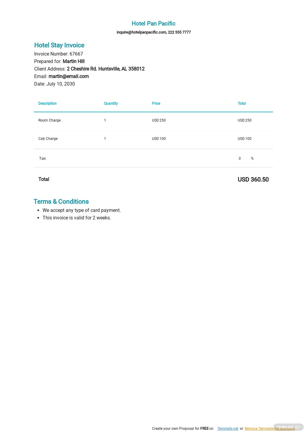Hotel Stay Invoice Template.jpe