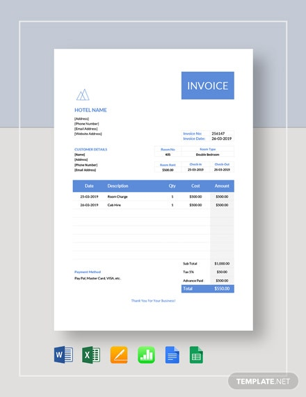 hotel stay invoice