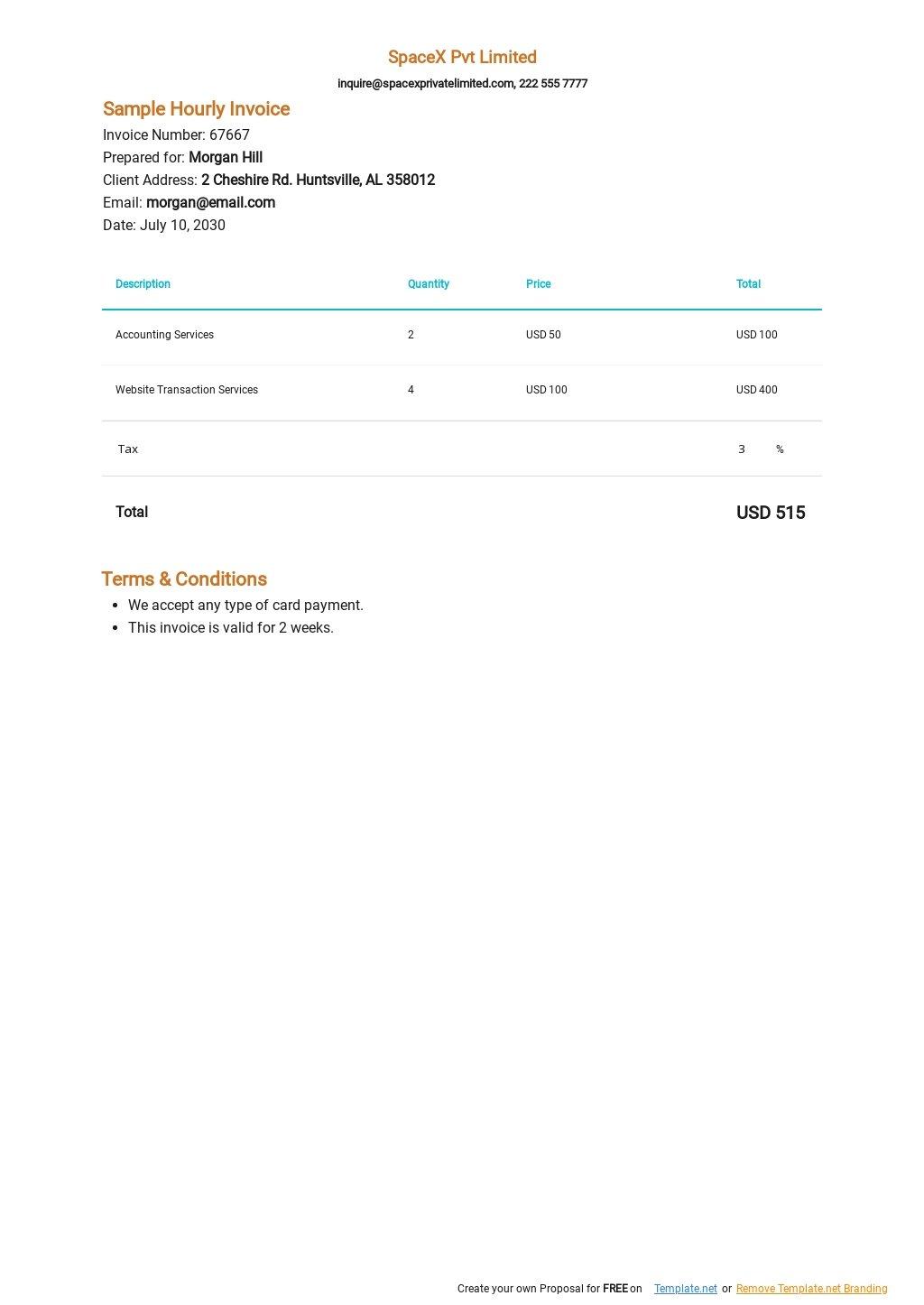 Sample Hourly Invoice Template.jpe