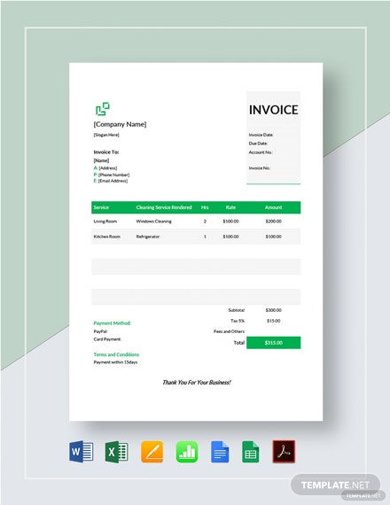 House Cleaning Service Invoice Template