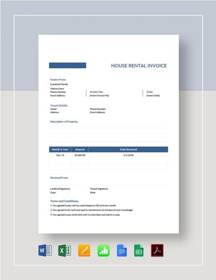 House Rental Invoice