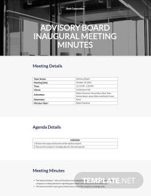 Advisory Board Meeting Minutes Template