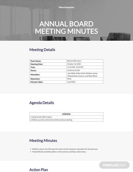 Annual board Meeting Minutes Template