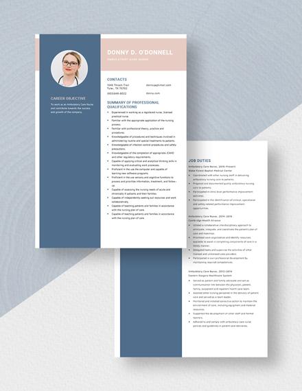 Ambulatory Care Nurse Resume Download