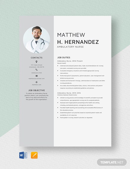 Ambulatory Nurse Resume Template