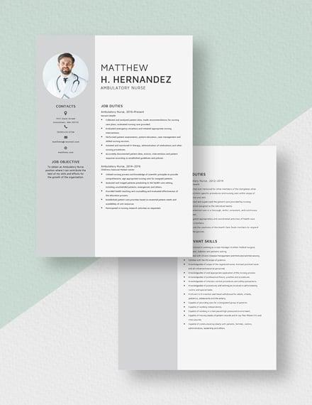 Ambulatory Nurse Resume Download