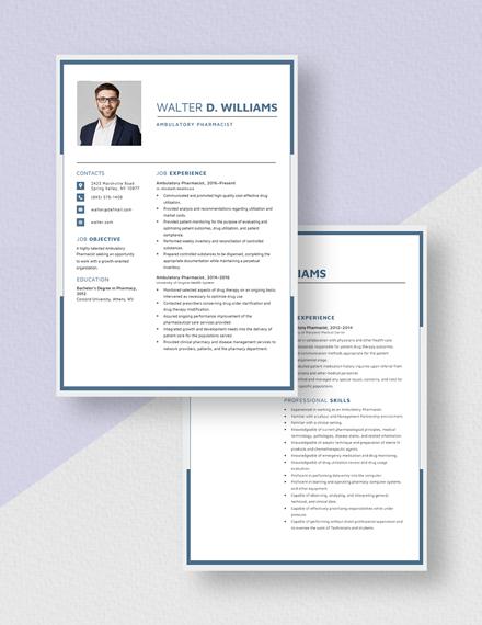 Ambulatory Pharmacist Resume Download