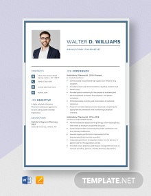 Ambulatory Pharmacist Resume Template