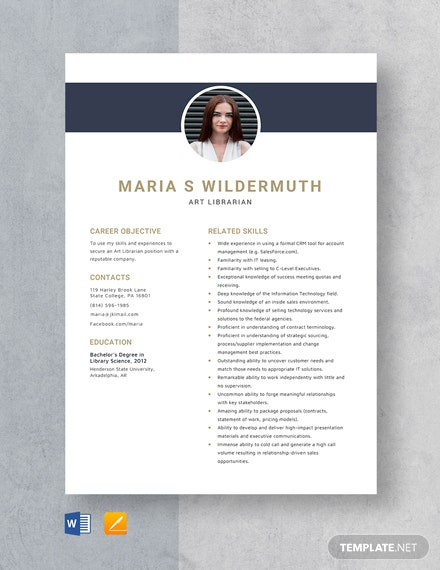 Art Librarian Resume Template