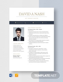 Art Museum Curator Resume Template