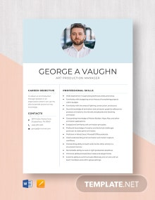 Art Production Manager Resume Template