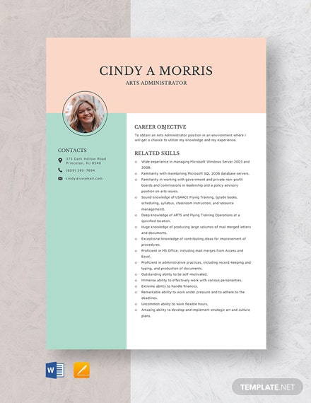 Arts Admin Resume Template
