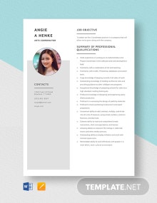 Arts Coordinator Resume Template