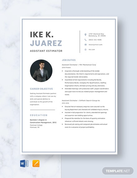 Assistant Estimator Resume Template