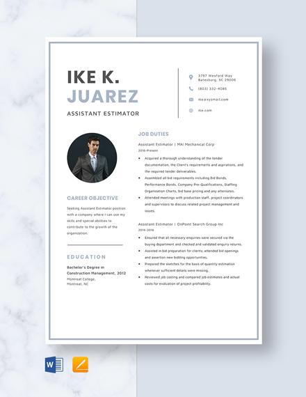 Assistant Estimator Resume Template