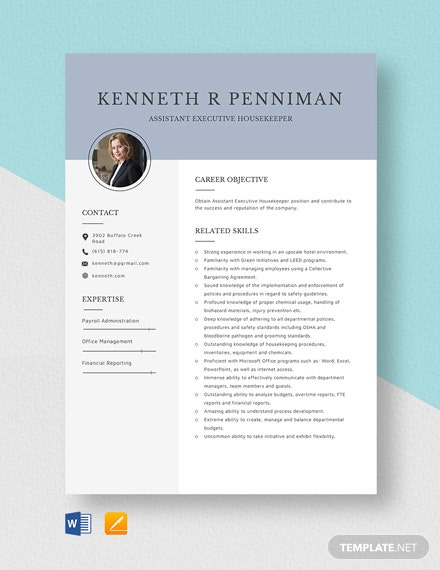 Assistant Executive Housekeeper Resume Template