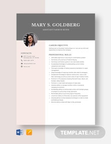 Assistant Fashion Buyer Resume Template