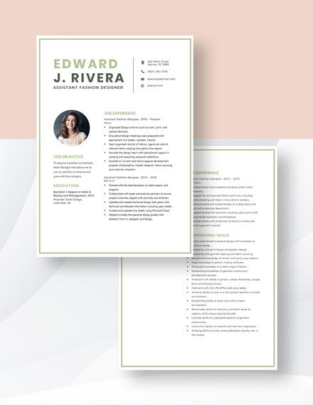Assistant Fashion Designer Resume Download