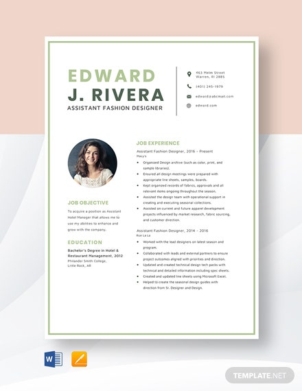 Assistant Fashion Designer Resume Template Word Doc Apple Mac Pages Template Net