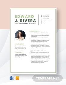 Assistant Fashion Designer Resume Template