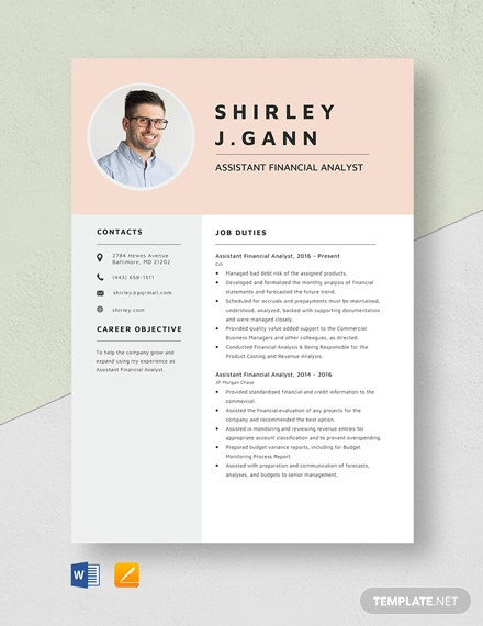 Assistant Financial Analyst Resume Template
