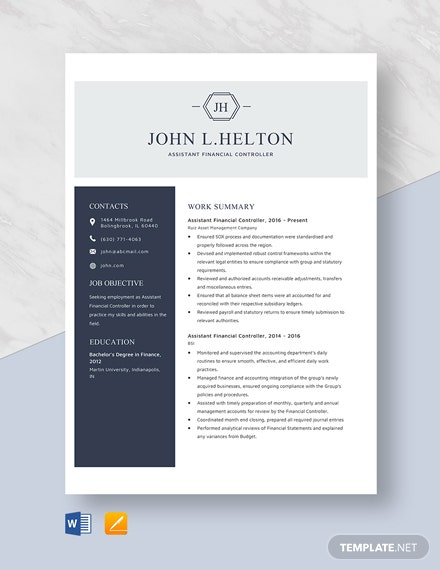 Assistant Financial Controller Resume Template