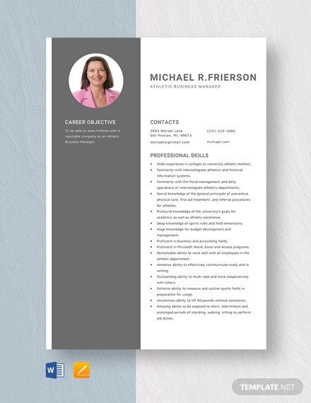 Athletic Business Manager Resume Template