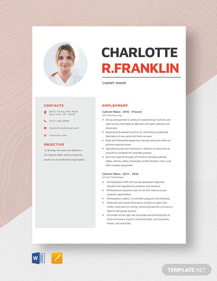Cabinet Marker Resume Template