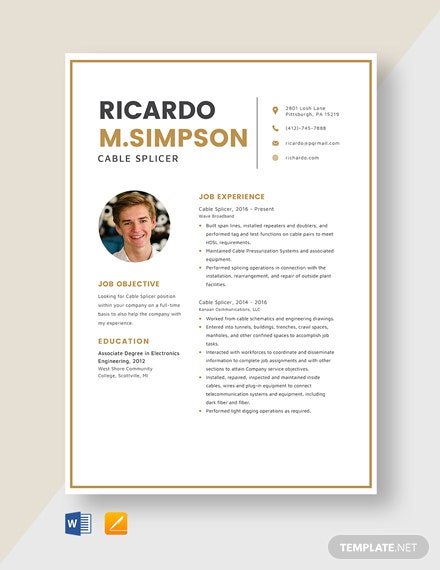 Cable Splicer Resume Template