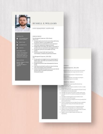 Case Management Supervisor Resume Download