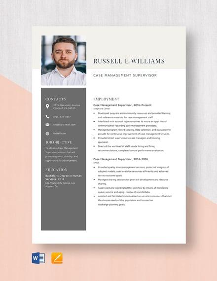 Case Management Supervisor Resume Template