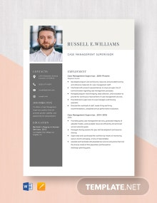 Case Management Supervisor Resume Template