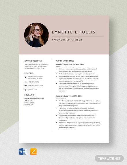 Casework Supervisor Resume Template