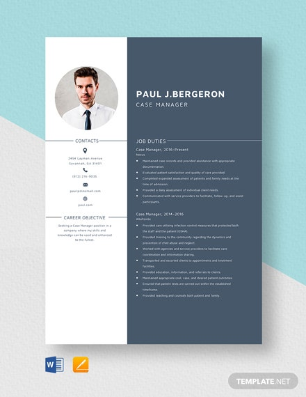 Case Manager Resume Template