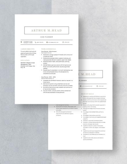 Case Planner Resume Download