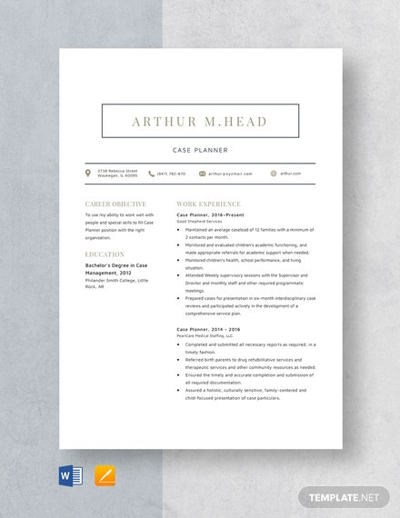 Case Planner Resume Template